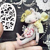 Куклы и игрушки ручной работы. Ярмарка Мастеров - ручная работа 10 см - Монти Зайка с кудряшками - мини тедди. Handmade.
