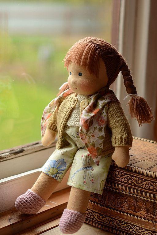 Вальдорфская игрушка ручной работы. Ярмарка Мастеров - ручная работа. Купить Неваляшка Марьяша, вальдорфская кукла 34см. Handmade. Зеленый