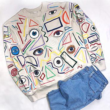 """Одежда ручной работы. Ярмарка Мастеров - ручная работа Кастомный свитшот unisex """"Eyes"""". Handmade."""