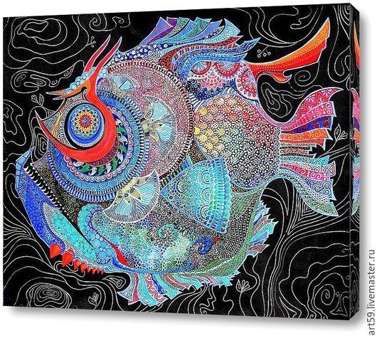 Фантазийные сюжеты ручной работы. Ярмарка Мастеров - ручная работа. Купить Чудо-рыба. Handmade. Комбинированный, абстракционизм, фантазийная картина