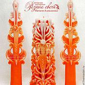 Свадебный салон ручной работы. Ярмарка Мастеров - ручная работа Свадебный комплект Апельсиновый Резные свечи ручной работы. Handmade.