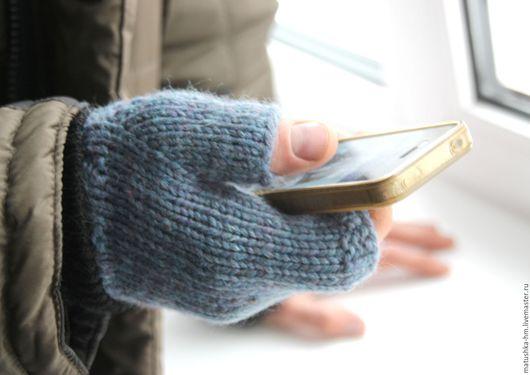Варежки, митенки, перчатки ручной работы. Ярмарка Мастеров - ручная работа. Купить Мужские митенки связаные спицами из 100% шерсти. Handmade.