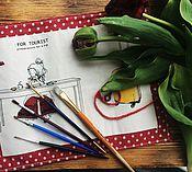 """Канцелярские товары ручной работы. Ярмарка Мастеров - ручная работа Пенал для кистей и карандашей в эко стиле """" заметки путешественника"""". Handmade."""