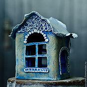 """Для дома и интерьера ручной работы. Ярмарка Мастеров - ручная работа Подсвечник """"Синий домик"""" керамика. Handmade."""