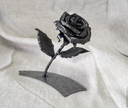 Цветы ручной работы. Ярмарка Мастеров - ручная работа. Купить Кованая роза с подставкой. Handmade. Темно-серый, кованые изделия