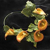 Украшения handmade. Livemaster - original item Decoration flowers leather Choker with flowers YELLOW CALLA lilies. Handmade.