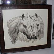 """Картины и панно ручной работы. Ярмарка Мастеров - ручная работа Картина """"Пара белых лошадей"""". Handmade."""