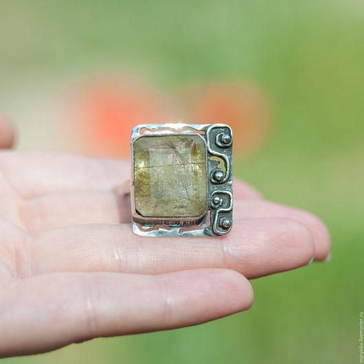 Кольца ручной работы. Ярмарка Мастеров - ручная работа. Купить Кварц-волосатик (кольцо) (62). Handmade. Кварц-волосатик