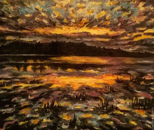 Пейзаж ручной работы. Ярмарка Мастеров - ручная работа. Купить закат. Handmade. Тёмно-синий, закат, озеро, масляные краски