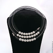 "Украшения handmade. Livemaster - original item Mesh tube necklace with pearls ""Maldives"", 3-strand. Handmade."