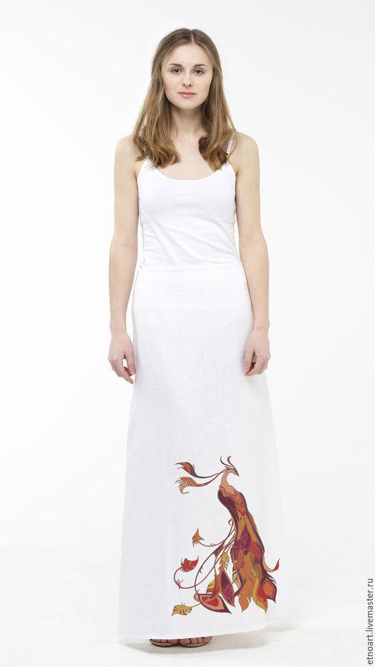 Белая юбка с рисунком `Огненная птица`