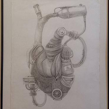 Картины и панно ручной работы. Ярмарка Мастеров - ручная работа Картины: Механическое сердце. Handmade.