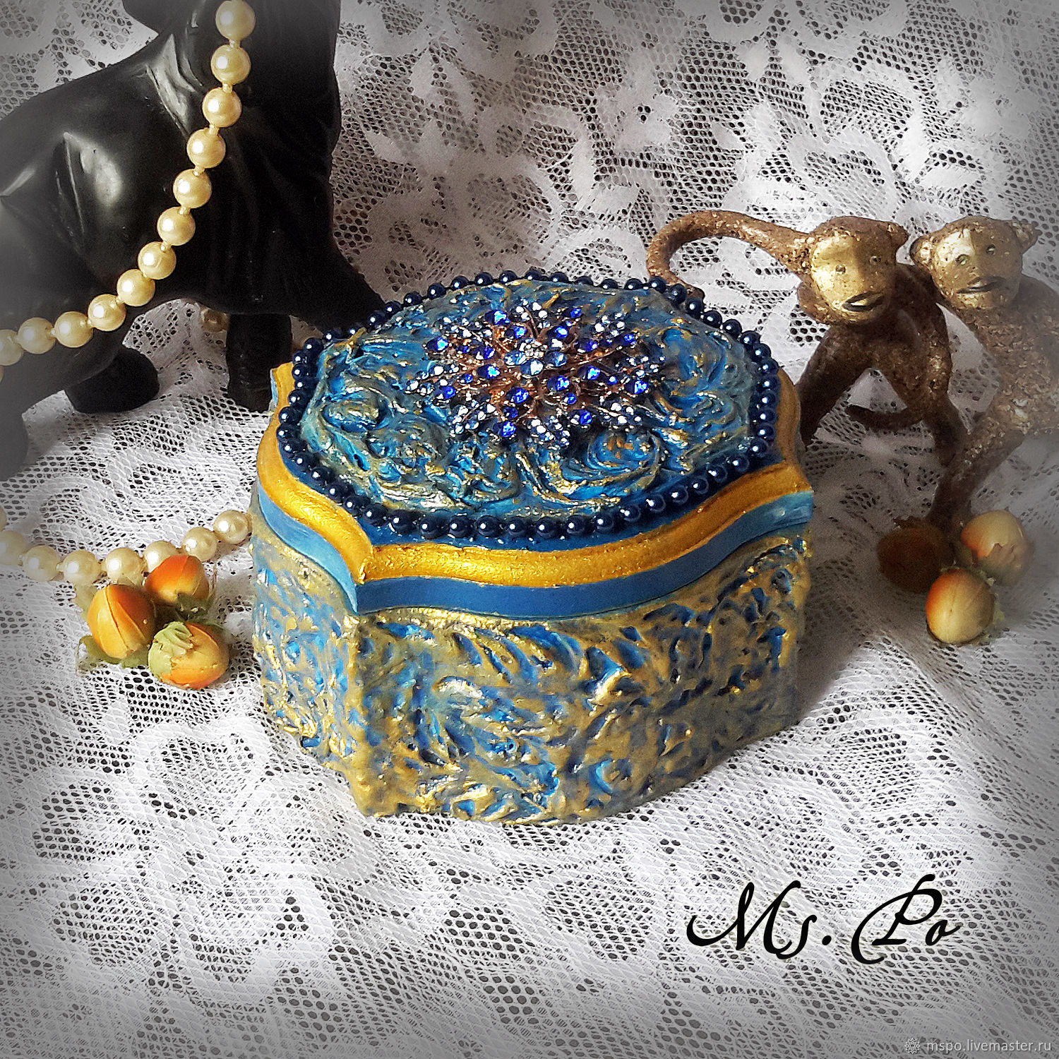 Still Life handmade. Livemaster - handmade. Buy Box 'the Blue carbuncle'.Gift, baroque, gift on March 8