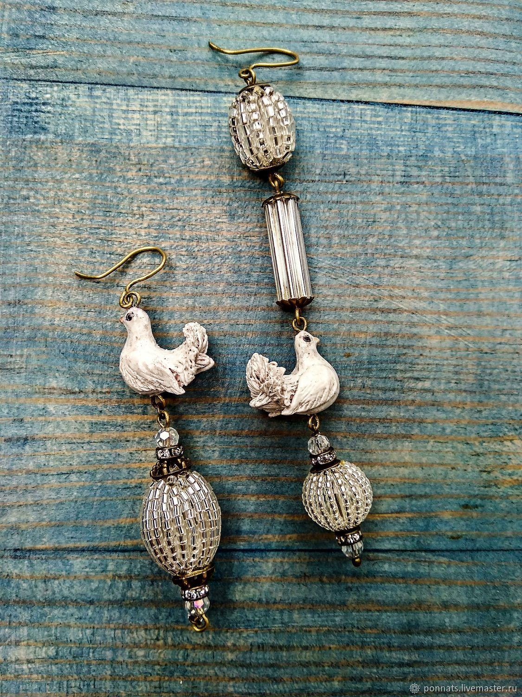 Asymmetric earrings 'Love and pigeons', Earrings, Nikolaev,  Фото №1