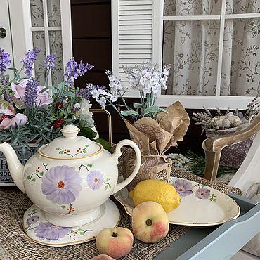 Винтаж ручной работы. Ярмарка Мастеров - ручная работа Чайник на подставке и блюдо для пироженных. Handmade.