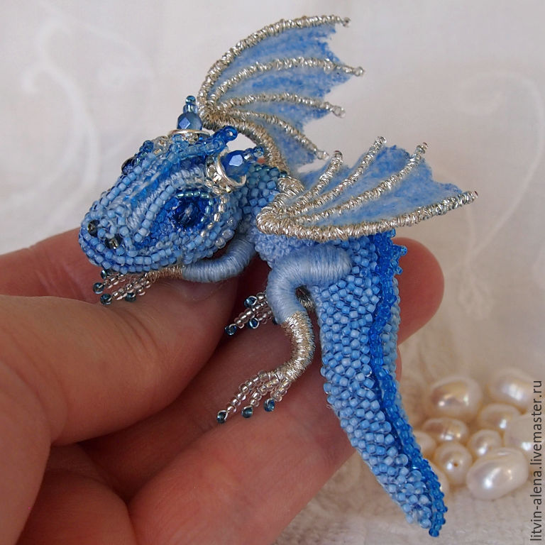 Brooch dragon 'Frost' Brooch beads. Embroidered dragon, Brooches, Moscow,  Фото №1