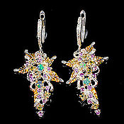 Украшения handmade. Livemaster - original item 925 sterling silver earrings with natural opals amethysts and chrysolites. Handmade.