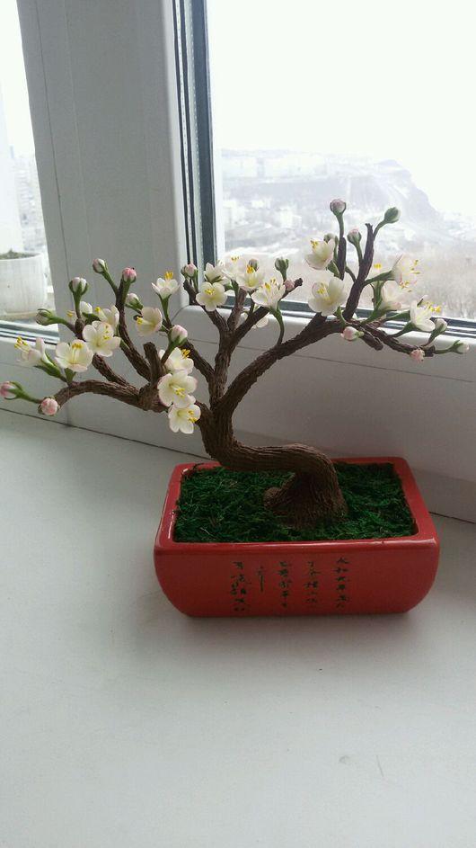 Бонсай ручной работы. Ярмарка Мастеров - ручная работа. Купить Цветущая яблонька. Handmade. Бледно-розовый, цветы ручной работы
