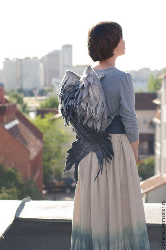 Рюкзаки ручной работы. Ярмарка Мастеров - ручная работа. Купить Рюкзак-крылья Серые. Handmade. Серый, перья, серая птица