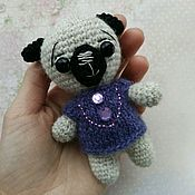 Куклы и игрушки ручной работы. Ярмарка Мастеров - ручная работа Мопс - вязаная игрушка амигуруми. Handmade.