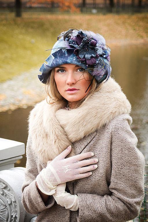 """Шляпы ручной работы. Ярмарка Мастеров - ручная работа. Купить авторская шляпка из фетра""""Небеса """". Handmade. Голубой, шляпа женская"""