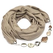 Аксессуары ручной работы. Ярмарка Мастеров - ручная работа Кашемировый шарф-ожерелье (однотонный,цвет мокко). Handmade.
