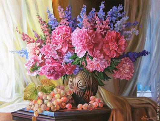 Виноградно-пионовое. Авторская живописная картина Е. Самарской. Картина  написана исключительно Питерским маслом `мастер-класс` на высококачественном фабричном холсте, натянутом на дерев. подрамник.