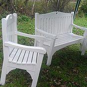 Для дома и интерьера ручной работы. Ярмарка Мастеров - ручная работа Комплект садовой мебели. Скамья и два кресла в классическом стиле.. Handmade.