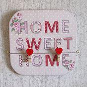 """Для дома и интерьера ручной работы. Ярмарка Мастеров - ручная работа Доска-панно для записей """"Милый дом"""" с прищепками (дерево, декупаж). Handmade."""