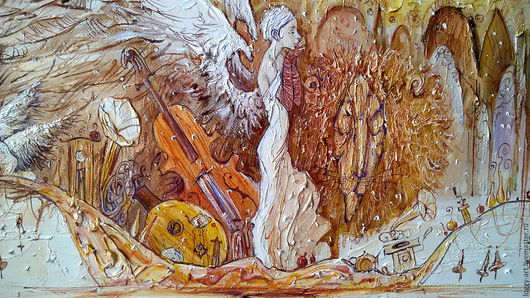 """Город ручной работы. Ярмарка Мастеров - ручная работа. Купить """"Зимний сон о весне"""". Handmade. Бежевый, крылья, картина на заказ"""