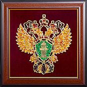 Подарки к праздникам handmade. Livemaster - original item Coat of arms of the Prosecutor`s office of small amber 35h35 cm. Handmade.