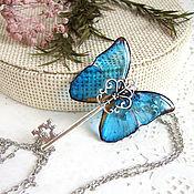 Украшения handmade. Livemaster - original item Transparent Key Pendant Blue Butterfly Vintage Key Chain Boho 2. Handmade.