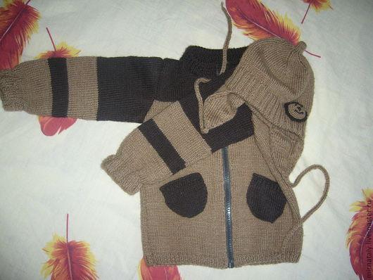 Одежда для мальчиков, ручной работы. Ярмарка Мастеров - ручная работа. Купить Кофта с накладными карманами + шапка. Handmade. Весенний
