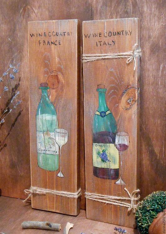 Интерьерные панно на состаренных сосновых досках. Рисунок акриловыми красками.