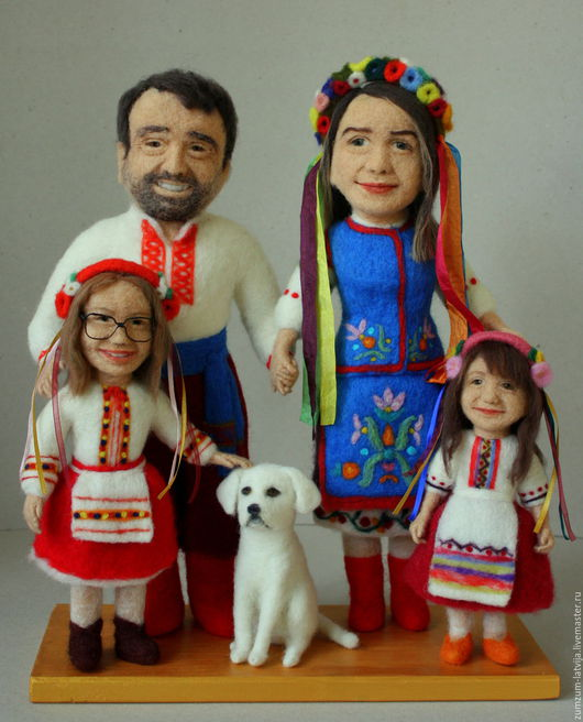 Портретные куклы ручной работы. Ярмарка Мастеров - ручная работа. Купить Портретные куклы Семья в украинских национальных костюмах. Handmade.