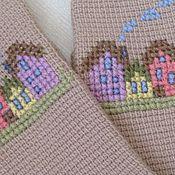 Аксессуары ручной работы. Ярмарка Мастеров - ручная работа Митенки Домики тунисское вязание+вышивка. Handmade.