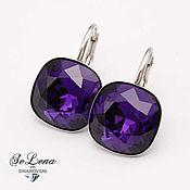 Украшения handmade. Livemaster - original item Swarovski earrings, Square plum earrings with Swarovski crystals. Handmade.