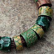 Украшения ручной работы. Ярмарка Мастеров - ручная работа колье из полимерной глины этника зелень. Handmade.