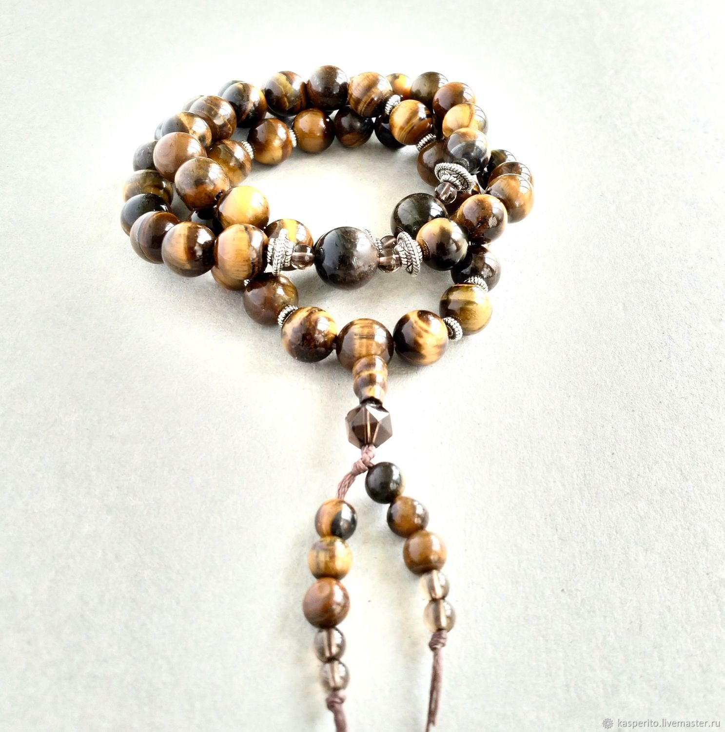 54 small grain. Tiger eye, Rosary, Moscow,  Фото №1