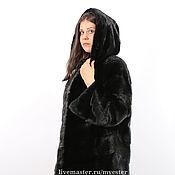 Одежда ручной работы. Ярмарка Мастеров - ручная работа Шуба из норки 100 см Black. Handmade.