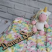Сувениры и подарки handmade. Livemaster - original item Newborn gift: plush plaid plush unicorn. Handmade.