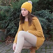 Одежда ручной работы. Ярмарка Мастеров - ручная работа Вязаный мохеровый свитер с мериносовой  шапкой. Handmade.