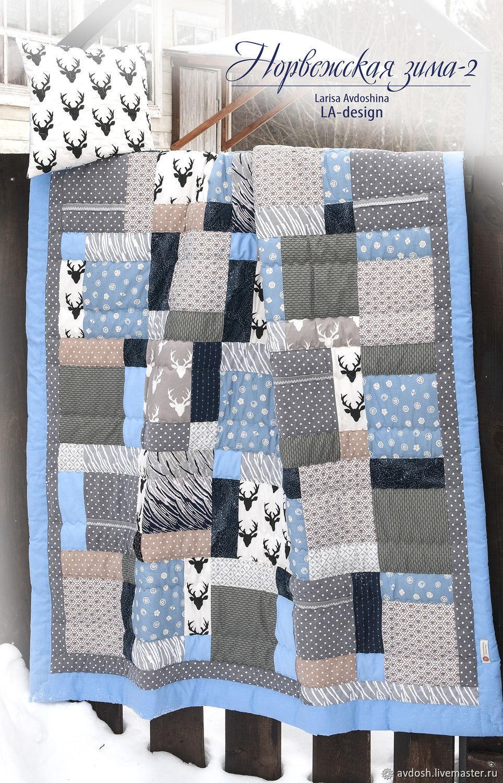Лоскутное покрывало-одеяло Норвежская зима-2. Готовая работа, Одеяла, Москва,  Фото №1