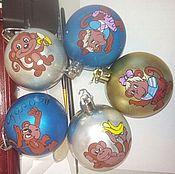Русский стиль ручной работы. Ярмарка Мастеров - ручная работа Новогодняя игрушка шар из дерева/пластика. Handmade.