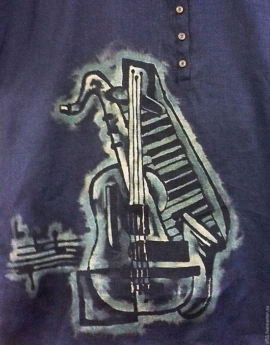 """Для мужчин, ручной работы. Ярмарка Мастеров - ручная работа. Купить Рубашка поло мужская  """"Музыка"""" из льна. Handmade. Батик"""