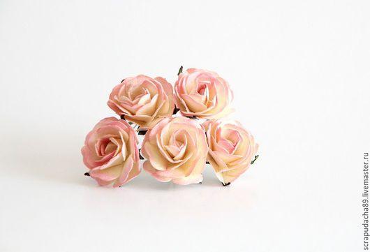 Открытки и скрапбукинг ручной работы. Ярмарка Мастеров - ручная работа. Купить Макси-розы молочный+розовый 5 шт. Handmade. Разноцветный
