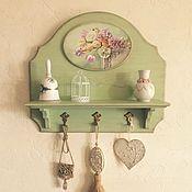 Для дома и интерьера ручной работы. Ярмарка Мастеров - ручная работа полка - вешалка Весна. Handmade.