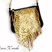 Сумки и аксессуары handmade. Livemaster - original item Suede bag with fringe and tassel Tiger shoulder bag. Handmade.