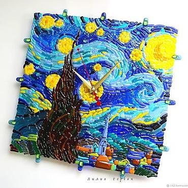 Для дома и интерьера ручной работы. Ярмарка Мастеров - ручная работа Часы из стекла, фьюзинг Почти Лунная ночь.Ван Гог. Handmade.