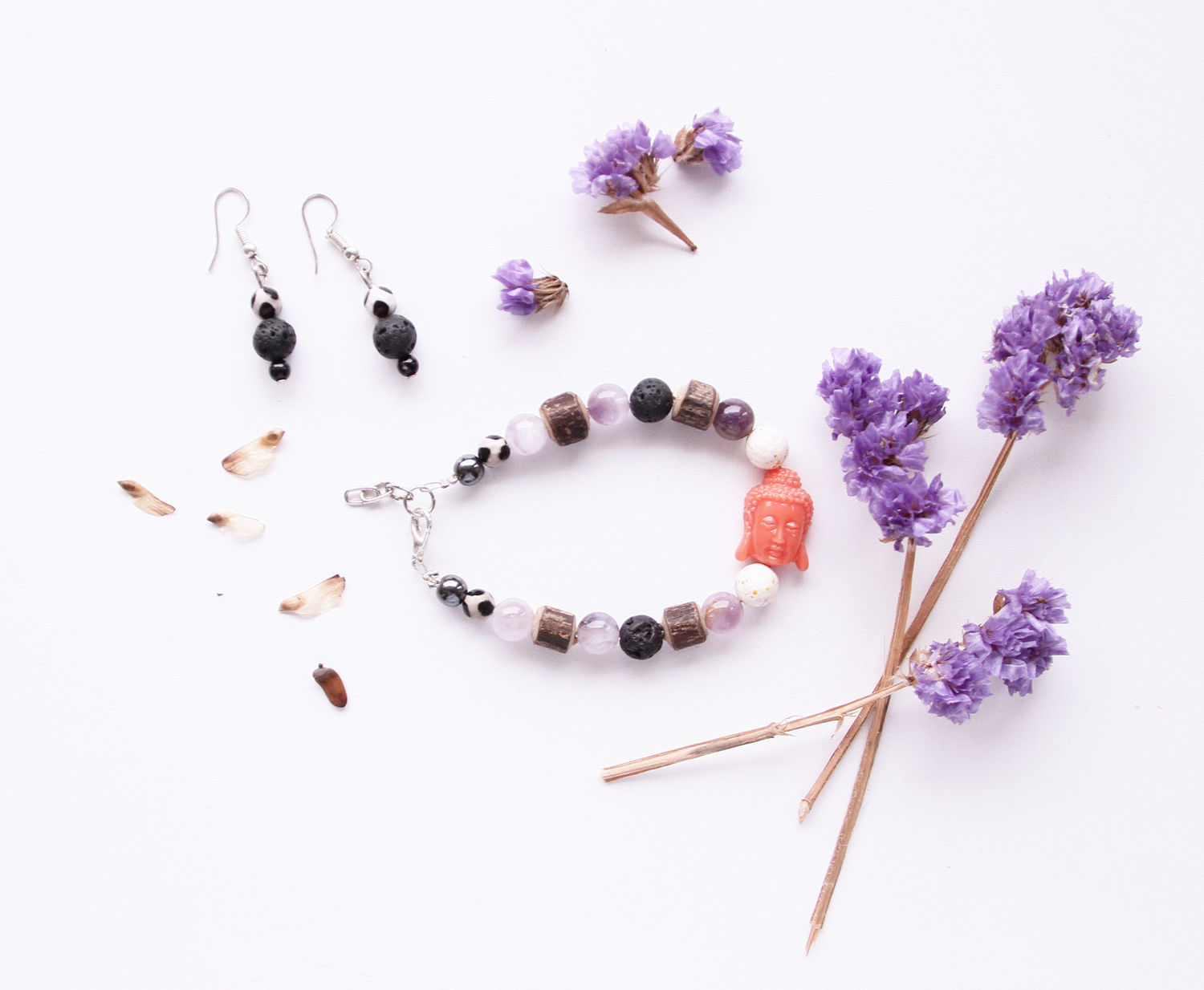 Set of bracelet and earrings with a Buddha and natural amethyst, Jewelry Sets, St. Petersburg,  Фото №1